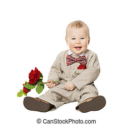 Baby Boy Flower, Kid Well Dressed in Suit, One Year Child with Rose sitting over White, Children Fashion Clothing