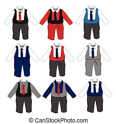 Baby boy formal Party wear with tie ,Vector illustration.