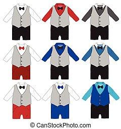 Baby boy formal wear Wedding Party with bow tie ,Vector illustration.