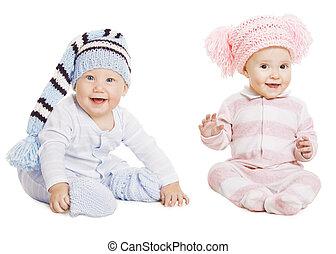 Baby Boy Girl Portrait, Little Kids In Woolen Hat, Happy...