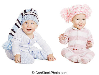 Baby Boy Girl Portrait, Little Kids In Woolen Hat, Happy Children in Crawlers Creepers Wearing, Sitting Isolated Over White Background