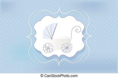 Baby boy greeting card. Blue stroller for newborn.