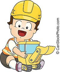 Baby Boy Hard Hat Play Back Hoe Toy Illustration