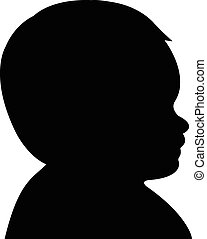 baby boy head silhouette, vector