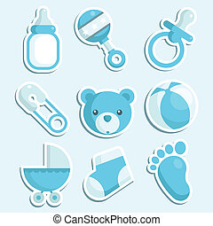 Set of blue baby boy icons