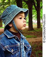 Baby boy in a denim panama hat