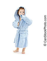 baby boy in blue robe over white