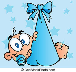 Caucasian Baby In A Blue Bundle Over Stars