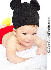 Baby boy in crochet costume