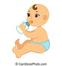 Baby boy in diapers drinks milk from bottle with nipple