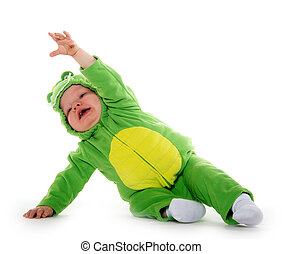 Baby boy in dragon costume - 18-month-old baby boy in green...