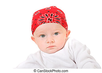 Baby Boy Portrait in Headscarf Isolated on the White Background
