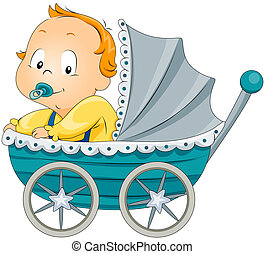 Baby Boy in Stroller with Clipping Path