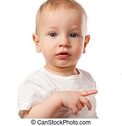 Baby boy in white shirt