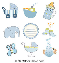 baby boy items set in vector format isolated on white...