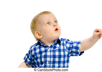 boy looking up on a white background