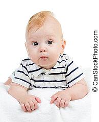 baby boy lying isolated on white background