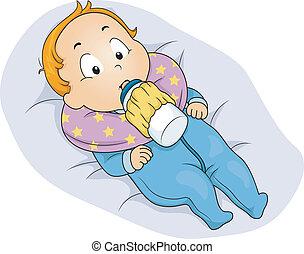 Baby Boy Milk Bottle Holder - Illustration of a Baby Boy...