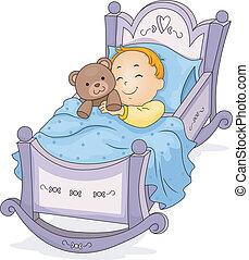 Happy Baby Boy Sleeping on a Cradle cuddling a Teddy Bear