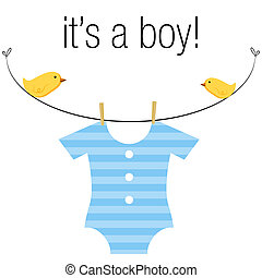 Baby Boy Onesie - An image of a baby boy blue onesie hanging...
