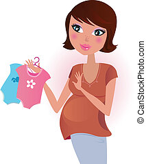 Happy pregnant mother awaiting her baby with love. Vector Illustration.