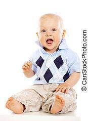 Baby Boy - Portrait of sweet little baby boy on white...