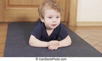 Baby boy push ups at home