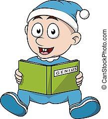 Baby boy read book cartoon