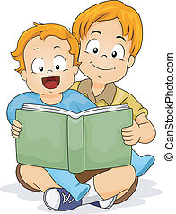 Happy Baby Boy Reading a Book with her Brother