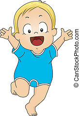 Baby Boy Romper - Illustration of a Happy Baby Boy Wearing...