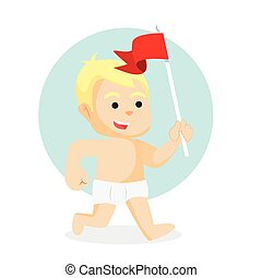 baby boy running with holding flag