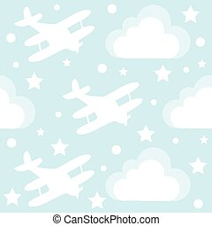 Baby boy seamless pattern with cartoon toy airplane and clouds