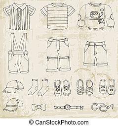 Baby Boy Set - for design and scrapbook - in vector