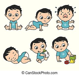 Baby boy set in different poses