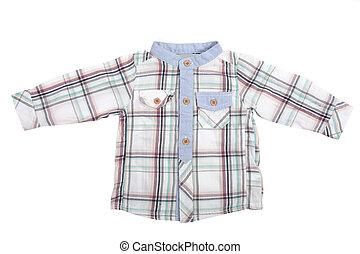 Long sleeved baby boy shirt, isolated on white