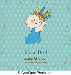Baby Boy Shower and Arrival Card - with place for your text in vector