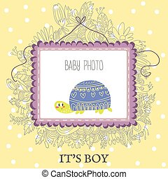 Baby Boy Shower and Arrival Card with cute turtle.With place for your foto and text in vector.