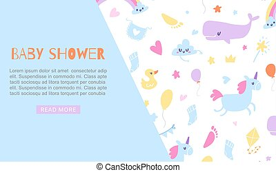 Baby boy shower blue banner vector illustration. Invitation web template with cute cartoon toys, place for your text. Cute animals, unicorn, duck and whale kids backdrop.