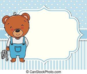 Baby boy shower card. Cute bear with teddy
