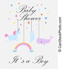 Baby boy shower card vector illustration. Its a boy. Invitation web template with cute cartoon toys, place for your text. Cute animals, unicorn, rainbow and whale kids backdrop.