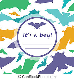 Baby boy shower card with cute bats