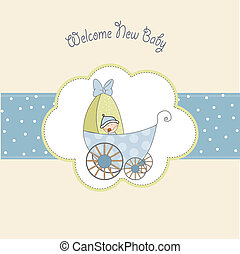 baby boy shower card with stroller