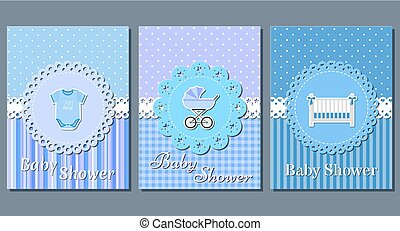 Baby boy shower cards. Vector.