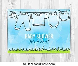 Baby boy shower invitation card.