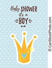 Vector cartoon style illustration of Baby shower invitation. Baby boy celebration greeting card template. Golden prince crown with heart inside on blue polka dot background.