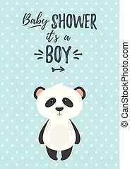 Vector cartoon style illustration of Baby shower invitation. Baby boy celebration greeting card template. Cute panda on blue polka dot background.