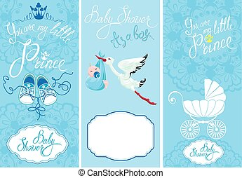 Baby boy Shower Set. Party Decoration, Scrapbook, invitation ca