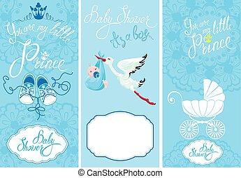 Baby boy Shower Set. Party Decoration, Scrapbook, invitation ca