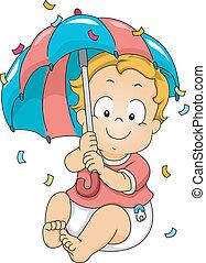 Baby Boy Showing Umbrella
