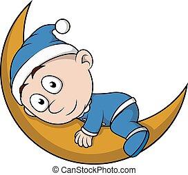 Baby boy sleep on moon cartoon
